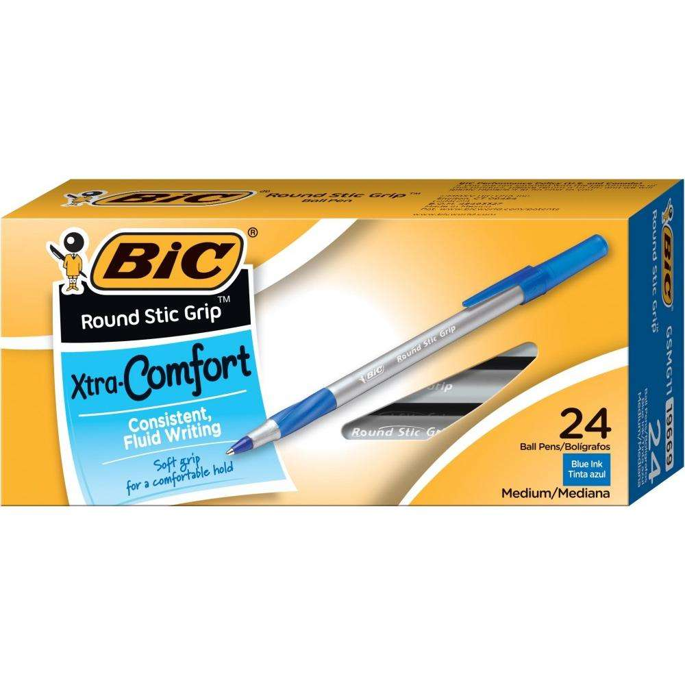 BIC Round Stic Grip Xtra Comfort Ball Pen, Medium Point (1.2 mm), Blue Ink, 24-Count