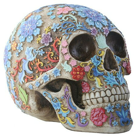 Day of The Dead Sugar Skull Colorful Floral Skull Statue - Colorful Skull