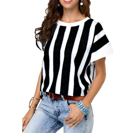 009f289852 Vista - Summer Women Casual Loose Bat Sleeve Vertical Stripes Round Collar T -shirt - Walmart.com