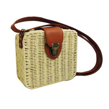 Ustyle Women Rattan Woven Square Shoulder Bag Summer Beach Braided Crossbody Bag with Adjustable Strap, Rose Red - image 2 of 9