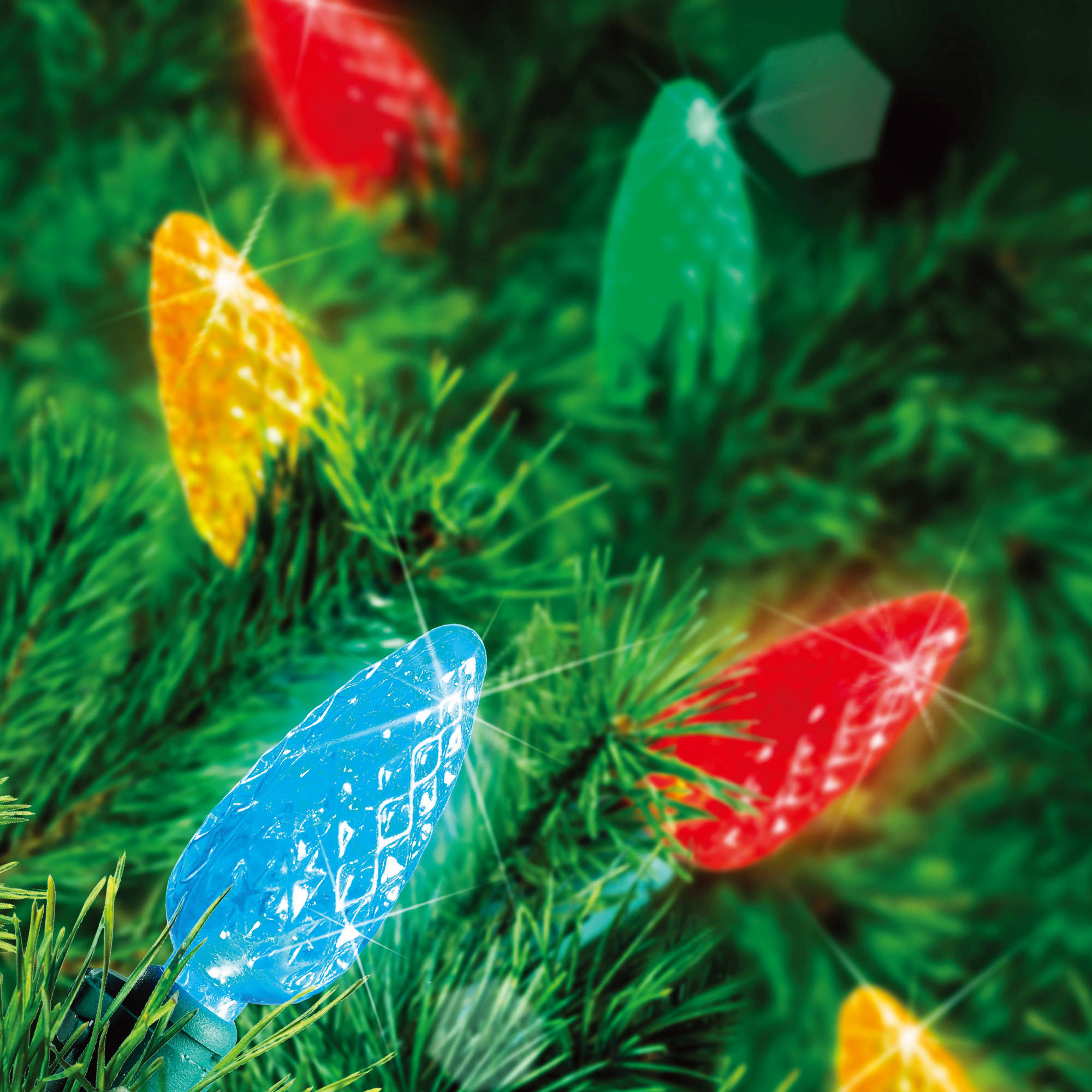 Holiday Time LED Lite Lock C6 Christmas Lights Multi, 200 Count ...