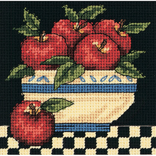 "Dimensions A Bowl Of Apples Mini Needlepoint Kit-5""X5"" Stitched In Thread"