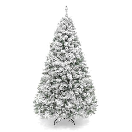 Best Choice Products 6ft Snow Flocked Hinged Artificial Christmas Pine Tree Holiday Decor with Metal Stand, Green