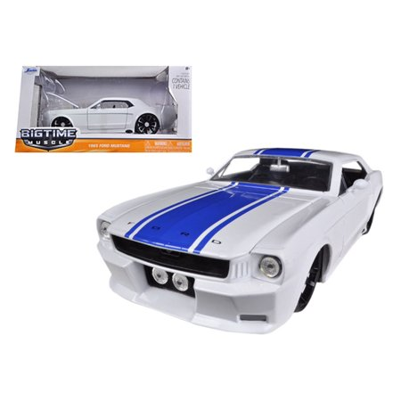 1965 Ford Mustang Specs - 1965 Ford Mustang White With Blue Stripes 1/24 Diecast Car Model by Jada