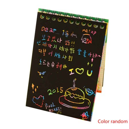 2pcs Colorful Dazzle Scratch Note Sketchbook Paper Graffiti DIY Coils Drawing Book 10 Pages/1 Book (Diy Notebook)