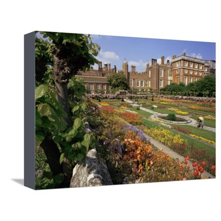 Garden Hampton Court Palace - Sunken Gardens, Hampton Court Palace, Greater London, England, United Kingdom Stretched Canvas Print Wall Art By Walter Rawlings