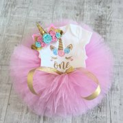 3PCS Baby Girls 1st Birthday Outfit Party Romper Skirt Cake Smash Tutu Dress Pink 12-18 Months