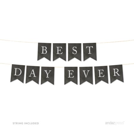 Best Day Ever Vintage Chalkboard Wedding Pennant Party