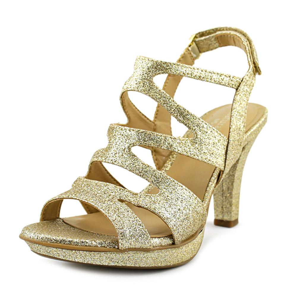 Naturalizer Dianna Women Open-Toe Synthetic Gold Heels by Naturalizer