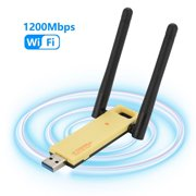 USB WiFi Adapter 1200Mbps Wireless Internet Adapter USB 3.0 WiFi Dongle for PC 802.11AC with 2dBi High Gain Antenna Support Linux Mac OS 10.4~10.15 Windows 10/8.1/8/7/ XP System, Easy to Use