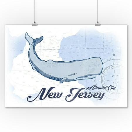 Atlantic City  New Jersey   Whale   Blue   Coastal Icon   Lantern Press Artwork  9X12 Art Print  Wall Decor Travel Poster