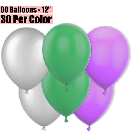 12 Inch Party Balloons, 90 Count - Metallic Silver + Jade Green + Lavender - 30 Per Color. Helium Quality Bulk Latex Balloons In 3 Assorted Colors - For Birthdays, Holidays, Celebrations, and More!!