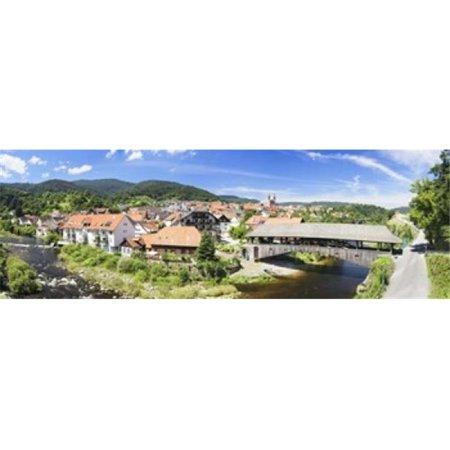 Images panoramiques PPI137962L pont en bois - travers un ruisseau Forbach Murg vall-e de la For-t Noire, Bade-Wurtemberg Allemagne d'affiche par images panoramiques - 36 x 12 - image 1 de 1