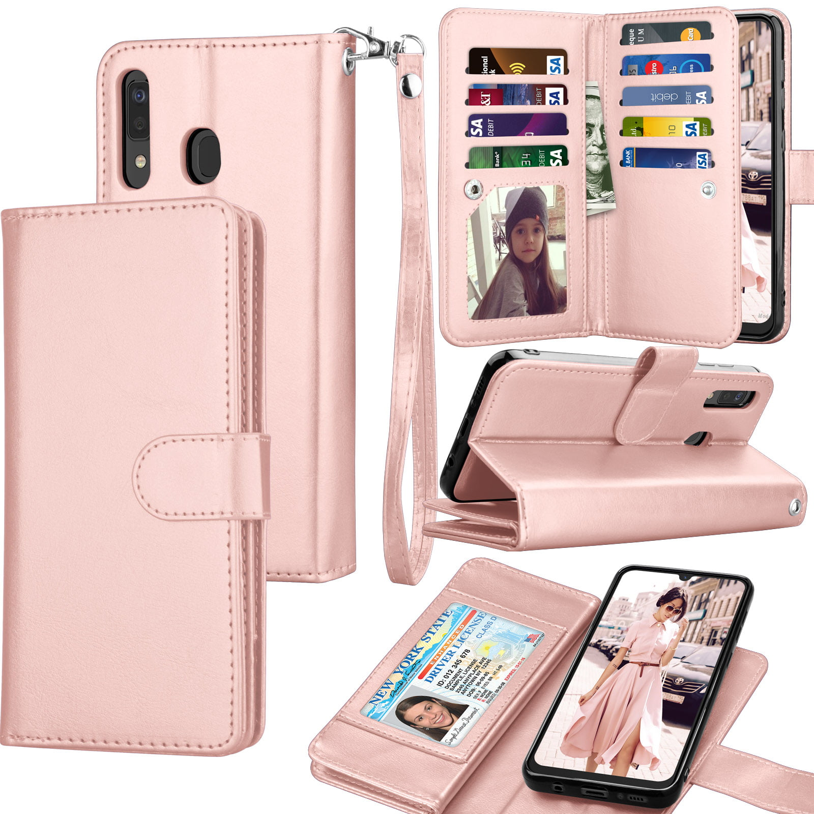 Samsung Galaxy A50 Flip Case Cover for Samsung Galaxy A50 Leather Extra-Protective Business Kickstand Cell Phone case Card Holders with Free Waterproof-Bag Business