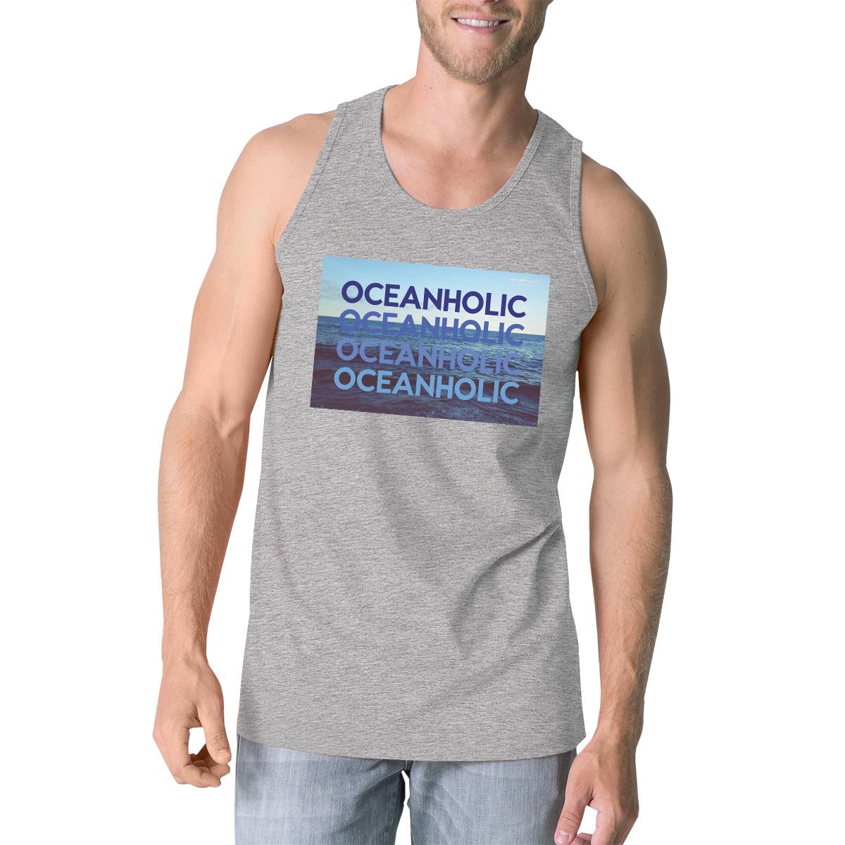Oceanholic Mens Gray Graphic Tanks Lightweight Tropical Tank Top