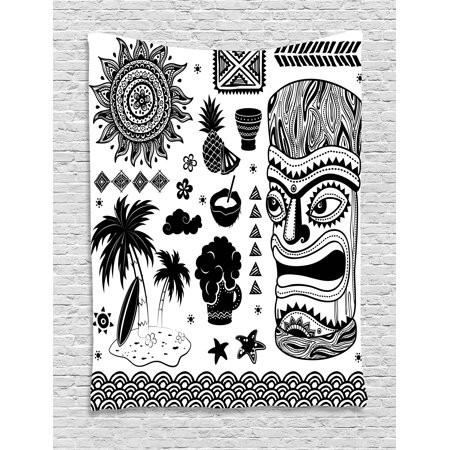 Tiki Bar Decor Tapestry, Tribal Ethnic Composition Palms Pineapple Paradise Vintage Tiki Figure, Wall Hanging for Bedroom Living Room Dorm Decor, 60W X 80L Inches, Dark Brown White, by Ambesonne