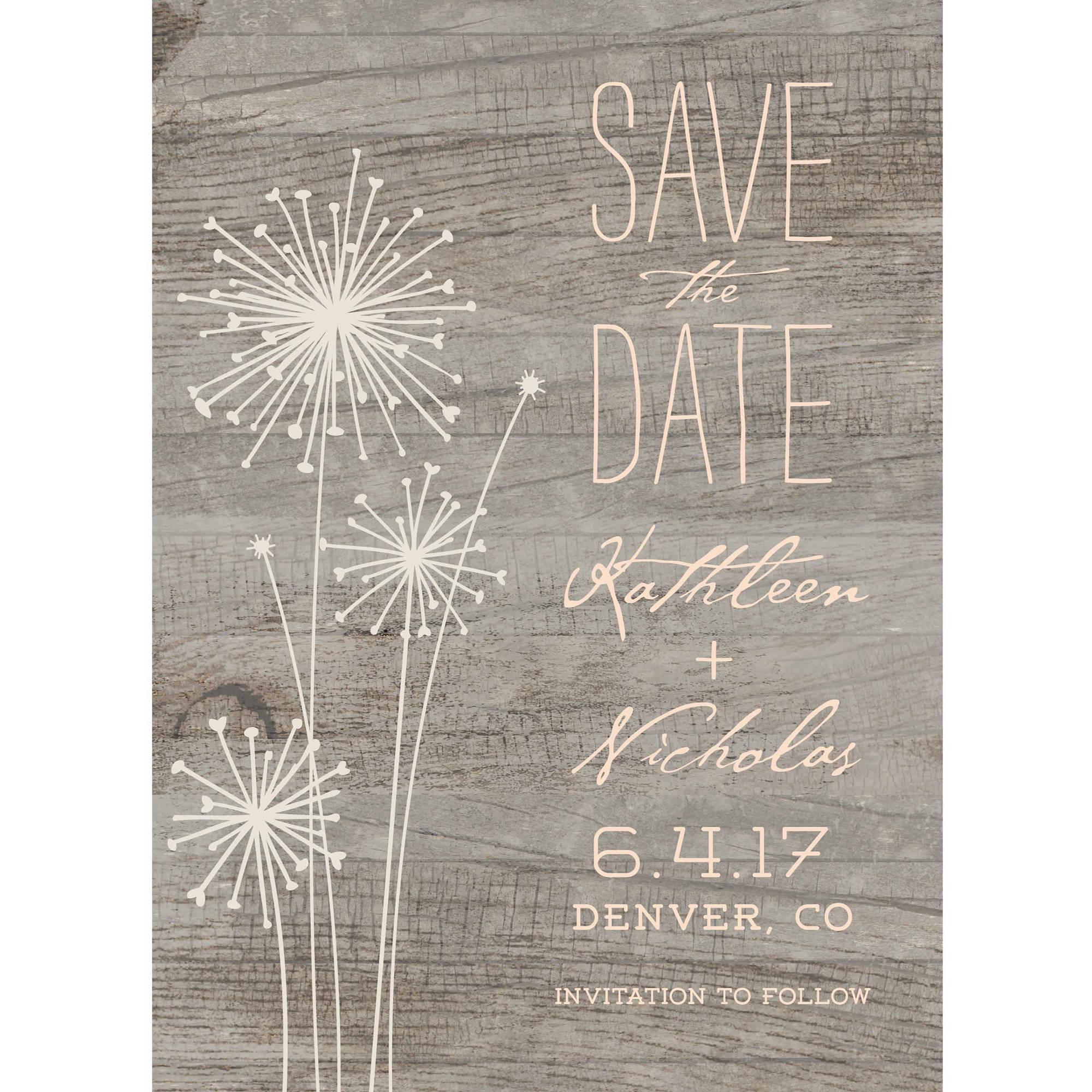 Rustic Dandelion Standard Save the Date