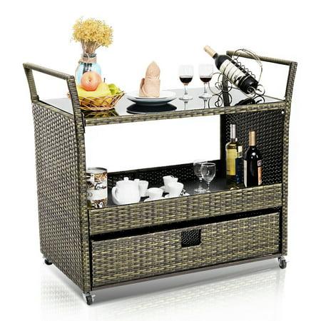 Costway Rolling Portable Rattan Wicker Kitchen Trolley Cart Dining Restaurant W/Shelves Dining Room Wicker Cabinet