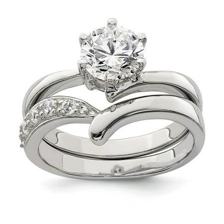 fc83b52dff 925 Sterling Silver Bridal Engagement Ring Wedding Band - Walmart.com