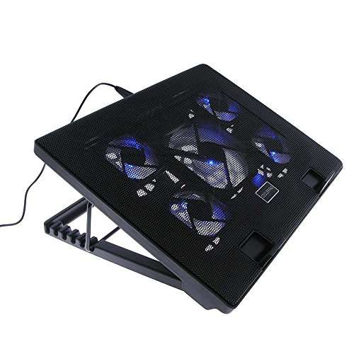 """iMBAPrice - Quiet Portable 12"""" - 17"""" Laptop Cooler Cooling Pad - Ultra Slim 2xUSB Powered (5 Fans) with Adjustable Height Mount Stand"""