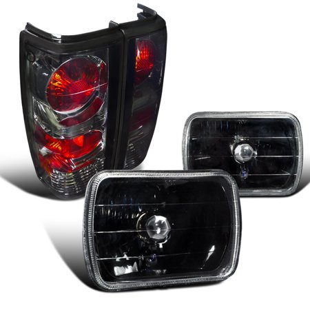 Spec-D Tuning For 1982-1993 Chevy S10 Tahoe Blazer Gmc S15 7X6 Black Headlights + Smoke Lens Tail Lamps (Left+Right) 1982 1983 1984 1985 1986 1987 1988 1989 1990 1991 1992