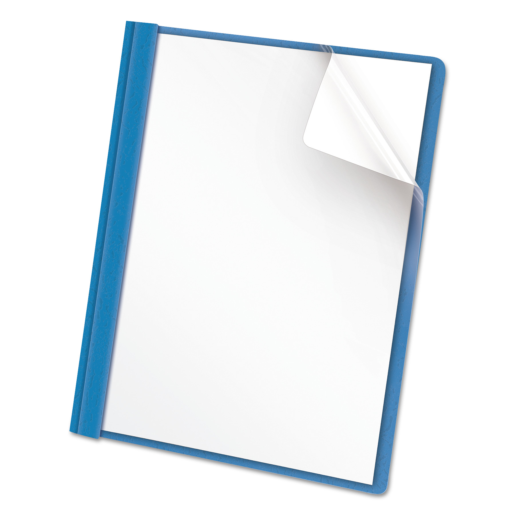 Clear Front Report Cover, Tang Fasteners, Letter Size, Light Blue, 25 Box -UNV57121 by Universal Office Products
