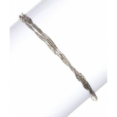 Sterling Twisted Heart Bracelet - Italian Sterling Silver 3-Strand Twisted Singapore Chain Bracelet, 7.5