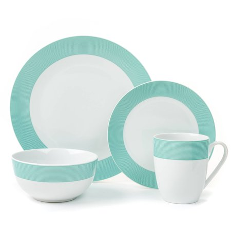 Loft Stripe Collection Mint Green 16-Piece Porcelain Dinnerware Set, Walmart Exclusive