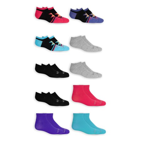 Fruit of the Loom Girl's Socks, 10 Pack No Show Everyday Flat Knit, Sizes S-L
