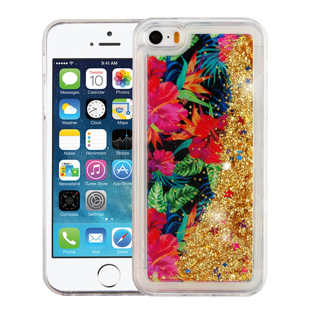 Apple iPhone SE 5S 5 Case - Wydan Slim Hybrid Liquid Bling Glitter Sparkle Quicksand Waterfall Shockproof TPU Phone Cover - Eiffel