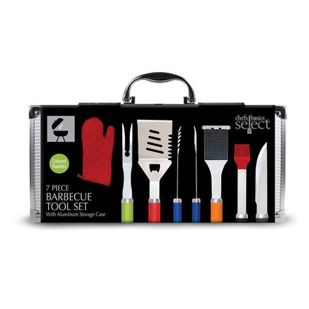 Chef Basics Aluminum Case 7 Piece BBQ Grilling Tool Set