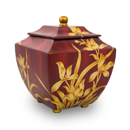 Large Wood Urn - Wood Cremation Urn For Adults - Extra Large 230 Pounds - Burgundy Red Orchid - Engraving Sold Separately