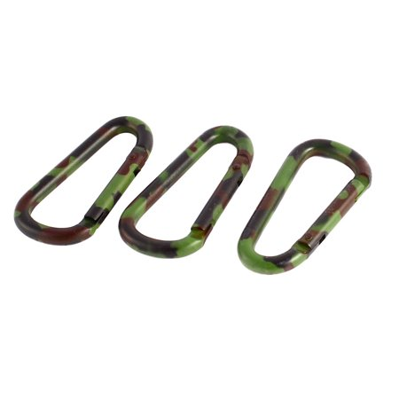 3Pcs Outdoor Camouflage Color Aluminum Alloy Spring Loaded Gate Carabiner Hook - image 1 of 1