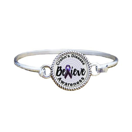 Crohns Disease Awareness Believe Silver Plated Bracelet Jewelry
