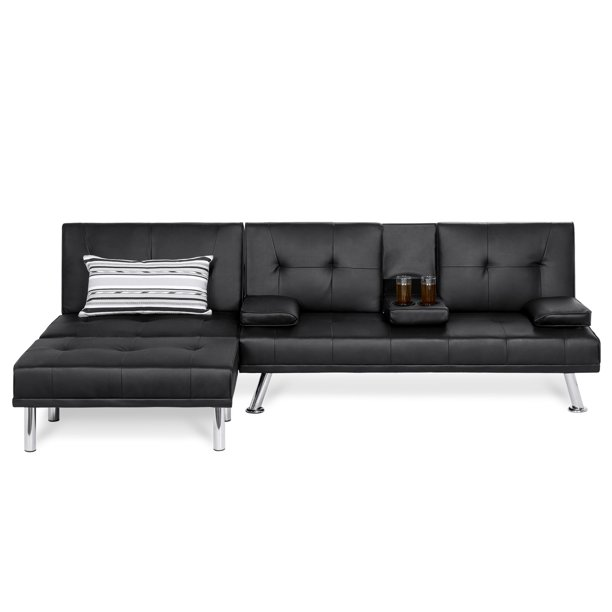 3 Piece Modular Modern Furniture Set, Double Leather Sofa Bed