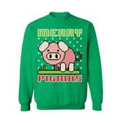 Awkward Styles Merry Pigmas Sweatshirt Ugly Christmas Pig Sweater Women's Christmas Ugly Sweater Christmas Gifts for Pig Lovers Christmas Piggy Sweatshirt for Men Funny Pig Ugly Christmas Sweater