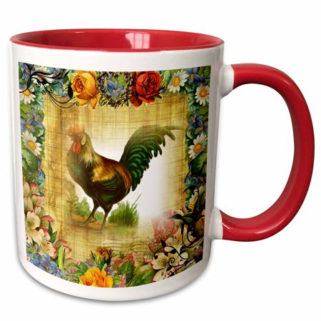 3dRose Image of Country Rooster On Flowered Old Postcard - Two Tone Red Mug, 11-ounce