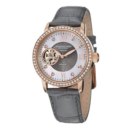 Women's 710.04 Vogue Automatic Self Wind Grey Genuine Leather Strap Watch (Watches For Women Stuhrling)