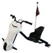 MotoTec White Triker 24v Drift Scooter Ride - Lithium Battery Powered Bike