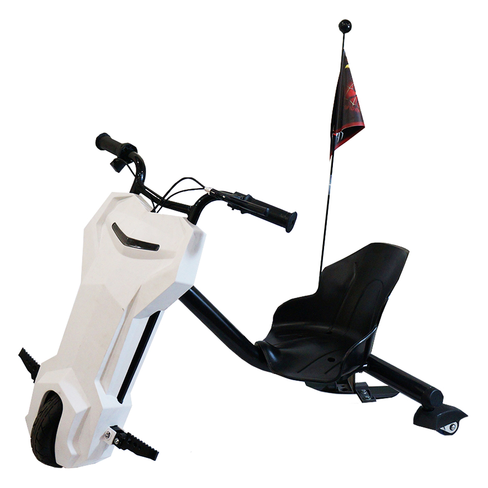 MotoTec White Triker 24v Drift Scooter Ride - Lithium Battery Powered Bike