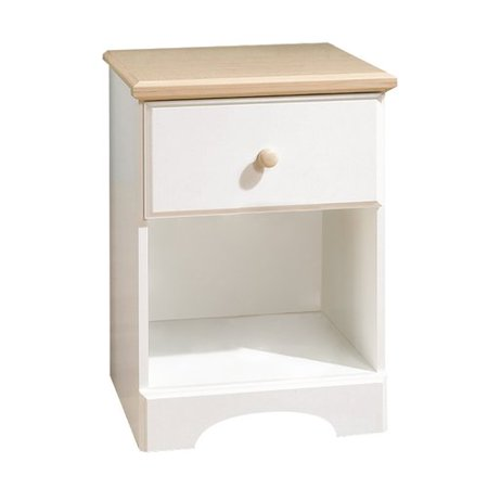 South Shore Summertime 1-Drawer Nightstand, White and Maple