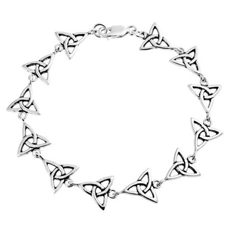 Celtic Triquetra Trinity Irish Love Knot BFF Link Bracelet For Women 925 Sterling Silver Celtic Triquetra Knot Magic
