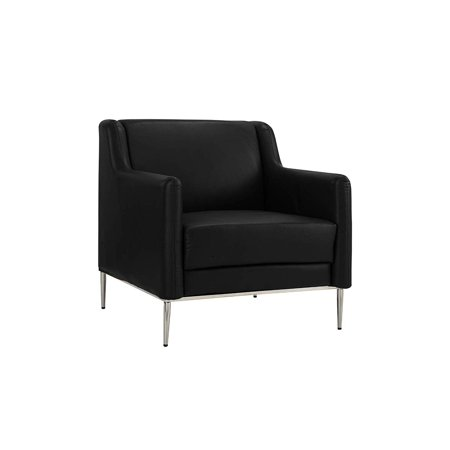 Modern Living Room Leather Armchair, Accent Chair (Black ...