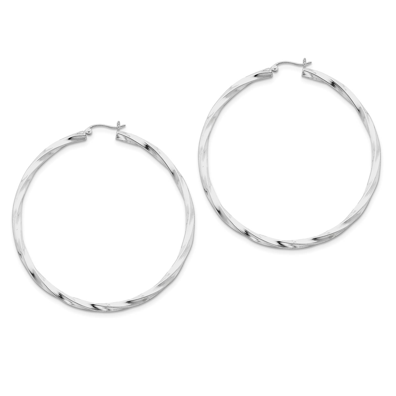925 Sterling Silver Rhodium-plated Polished Twisted Hoop Earrings