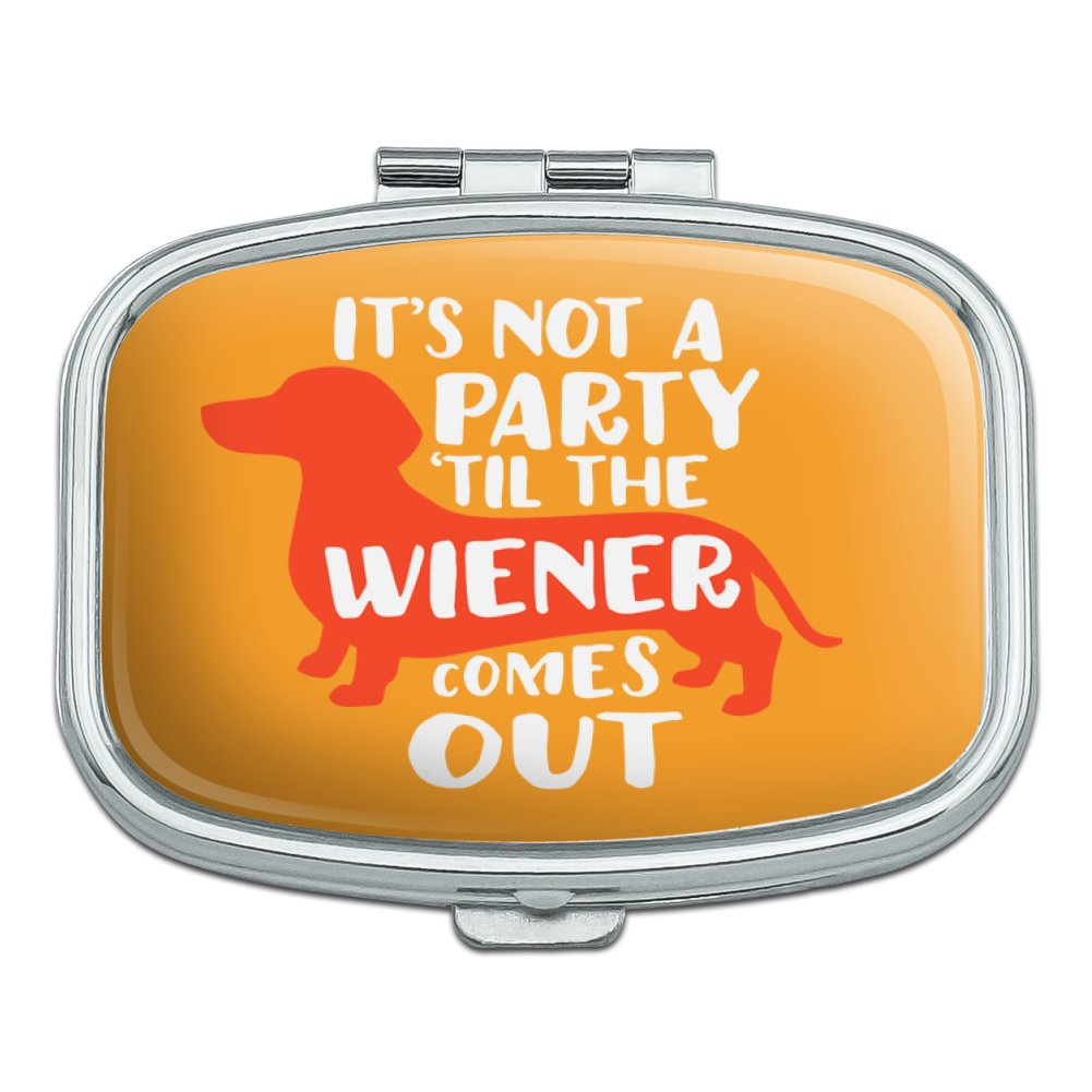It's Not a Party til Wiener Comes Out Dachshund Dog Funny Rectangle Pill Case Trinket Gift Box