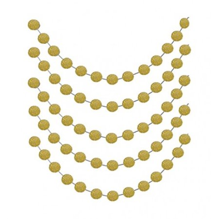 Christmas Gold Glittery Circle Dot Garland Decoration Banner Sparkling 26 Ft Party Supplies Background Decor. Great For Parties,Weddings,Birthdays,Bridal Showers,Holidays,Baby Showers Etc. - Gold Banner