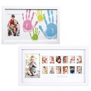 """Maven Gifts: Pearhead Family Handprint Frame, White with 4 Multicolored Paints and Pearhead \My First Year\"""" Photo Moments Frame"""""""