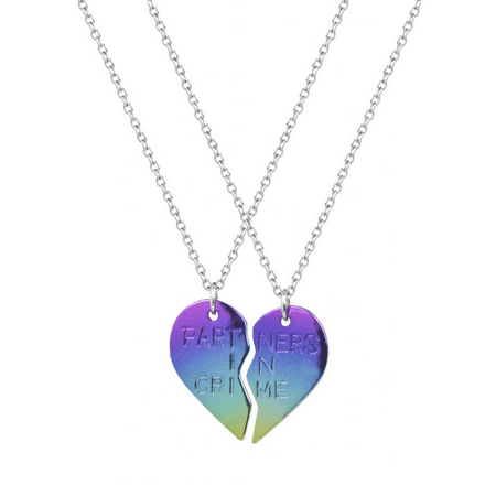 Lux Accessories Partners in Crime Multi Color BFF Best Friends Forever Heart Necklaces (2 - Best Friends Forever Necklaces