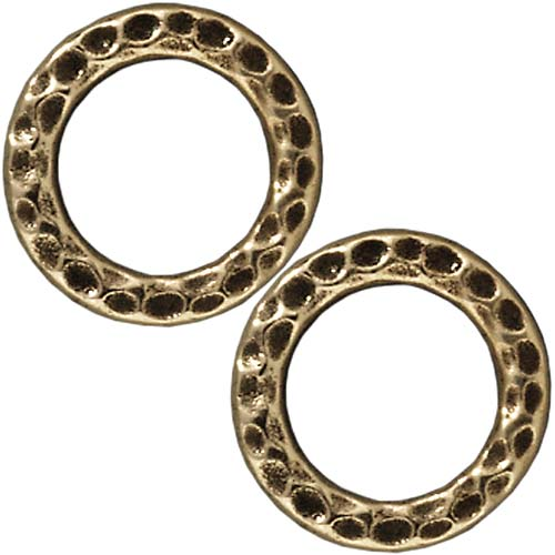 Brass Oxide Finish Lead-Free Pewter Round 13mm Connector Link Ring (4)