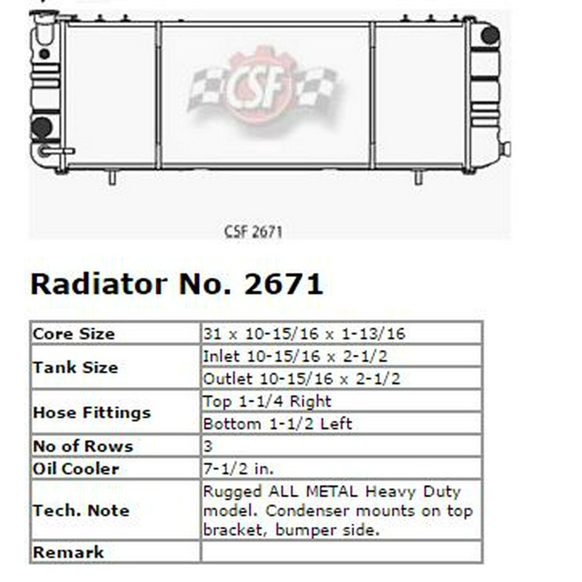 CSF Radiator 2671 Radiator | Walmart Canada